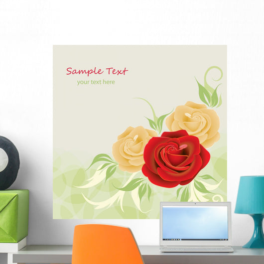 Greeting Card with Rose Wall Decal