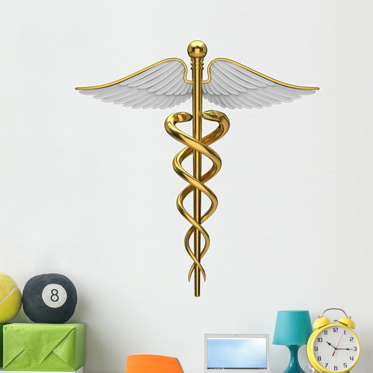 Golden Caduceus Medical Symbol Wall Decal
