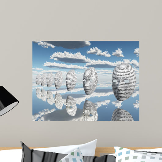 Surreal Face with Text Wall Decal