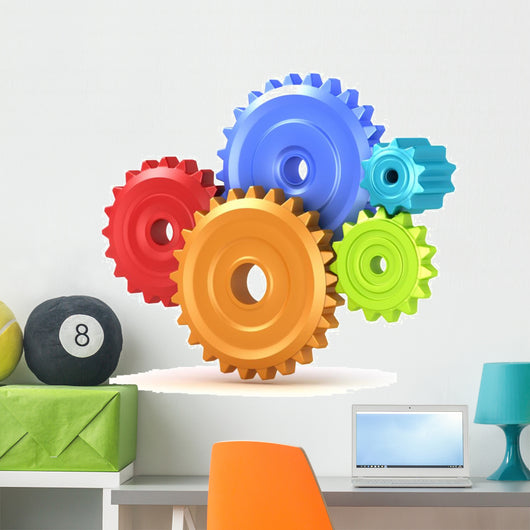 Colorful Gear Shift 3D Wall Decal