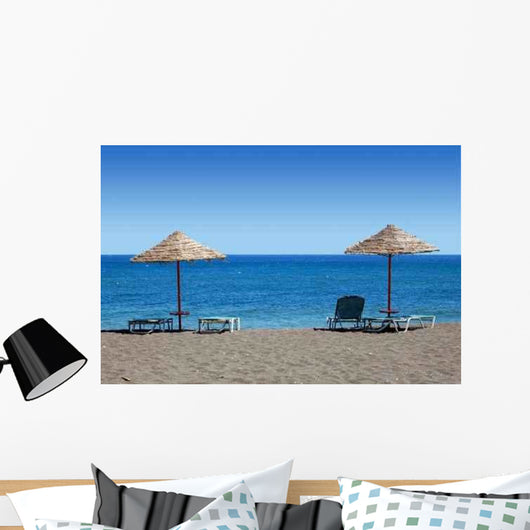 Black Beach Umbrellas Greece Wall Decal