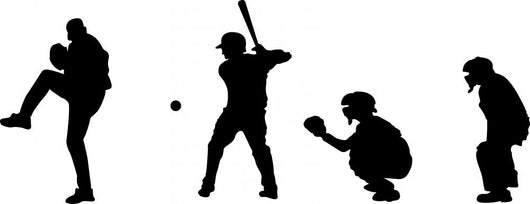 Baseball Silhouettes Wall Decal Sticker Set Wall Decal
