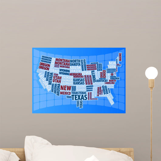 Text Usa Map Wall Mural
