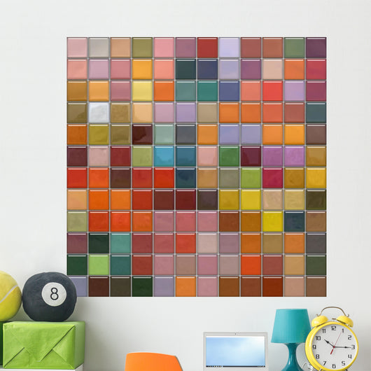 Mosaic wall with glass tiles with reflection Wall Mural
