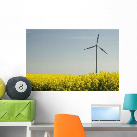 Wind Turbines and Rapeseed Wall Decal Design 1