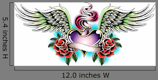 Heraldic Angel Heart Tattoo Wall Decal