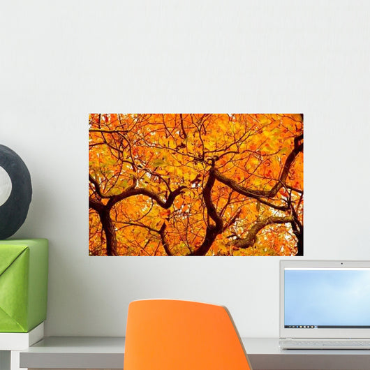 Orange Leaves Autumn Wall Decal