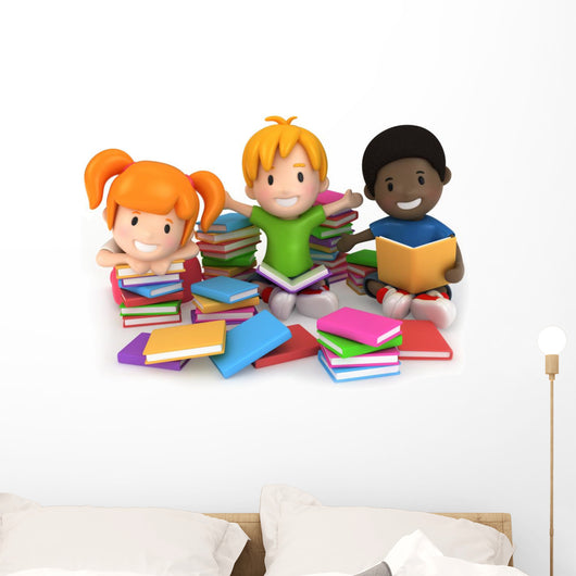 Kids Surrounded Books Wall Decal
