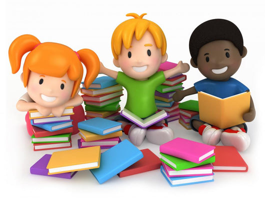 3D Render of Kids Surrounded by Books Wall Decal