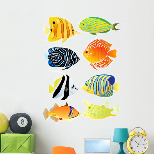 Eight tropical fish Wall Decal