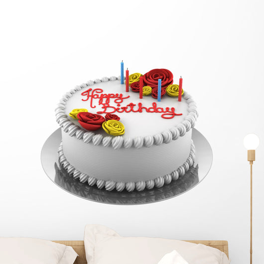 Round Birthday Cake with Wall Decal
