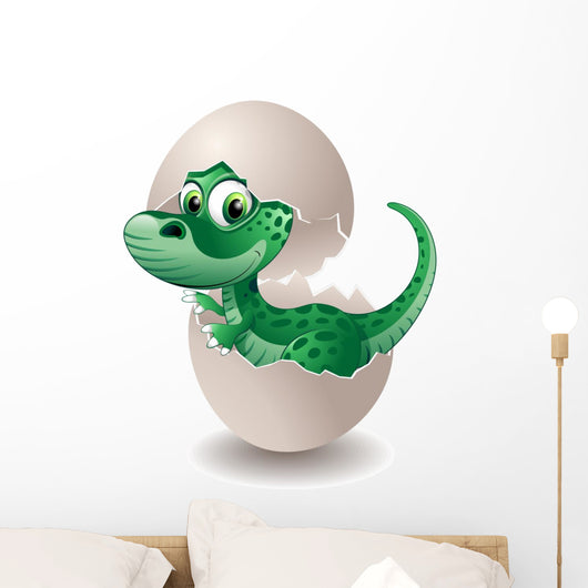 Puppy in Dinosaur Egg-Baby Dinosaur Egg On His-Vector Wall Decal