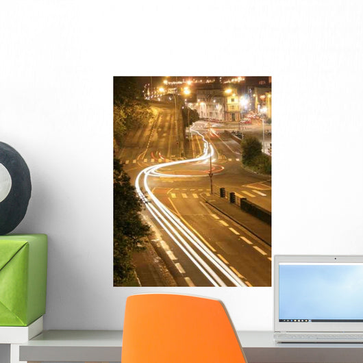 Ville Nuit (City Night) Timelapse Road Wall Decal