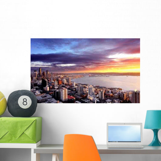 Sunset over City Seattle Wall Decal
