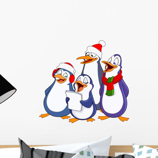 Caroling Penguins Wall Decal
