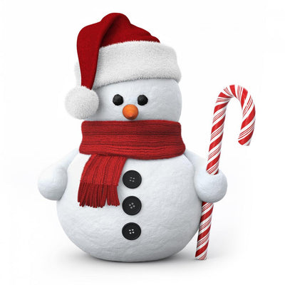 Snowman with Santa Hat Wall Decal
