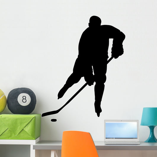 Hockey Player Silhouette Check Wall Decal