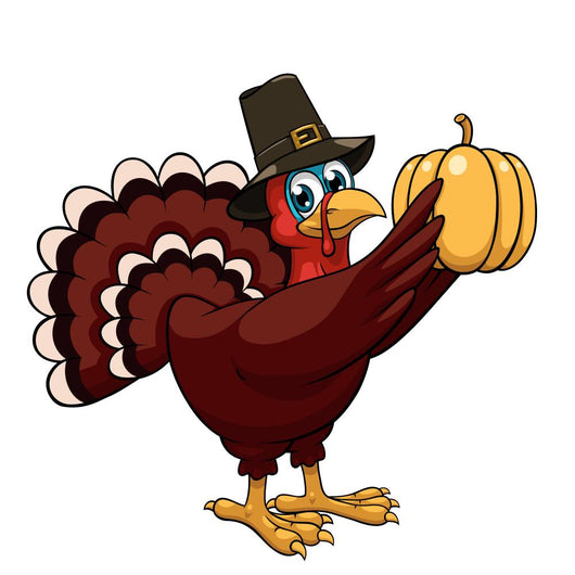 Cartoon Thanksgiving Turkey with Pumpkin Wall Decal
