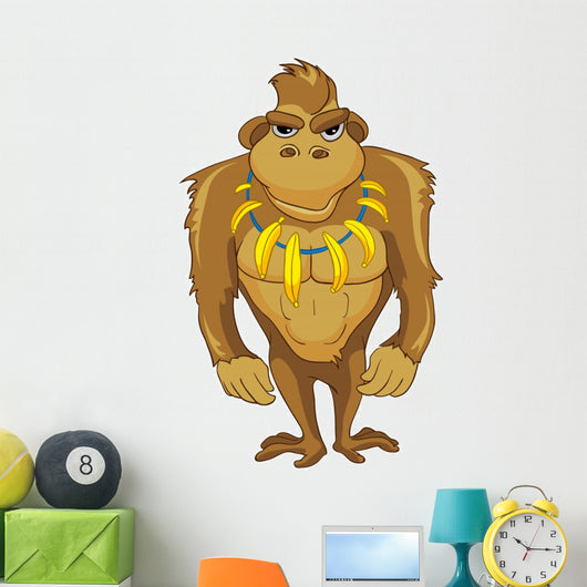 Buff Cartoon Monkey Wall Decal