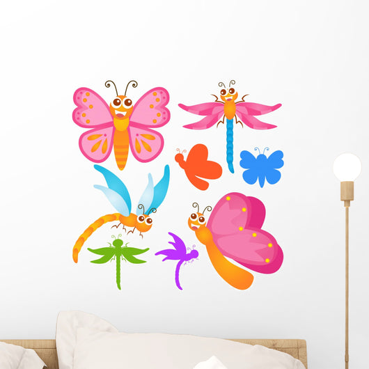 Colorful Butterfly Dragonfly Wall Stickers