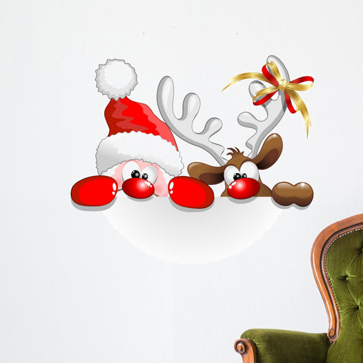 Santa and Reindeer Santa Claus Wall Decal