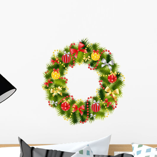 Realistic Christmas Wreath Wall Decal