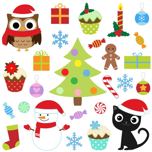 Christmas Vector Cute Elements Wall Decal