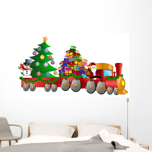 Santa Reindeer Snowman in Train with Gifts and Christmas Tree Wall Decal