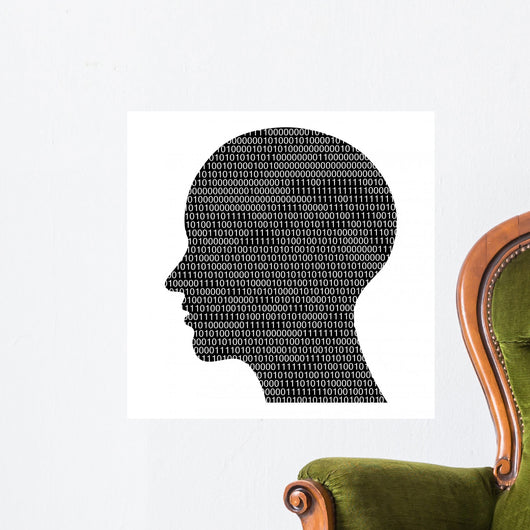 head silhouette with binary code, high tech vector illustration Wall Decal