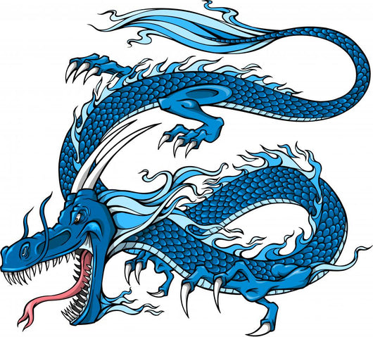 Blue Chinese Dragon Wall Decal