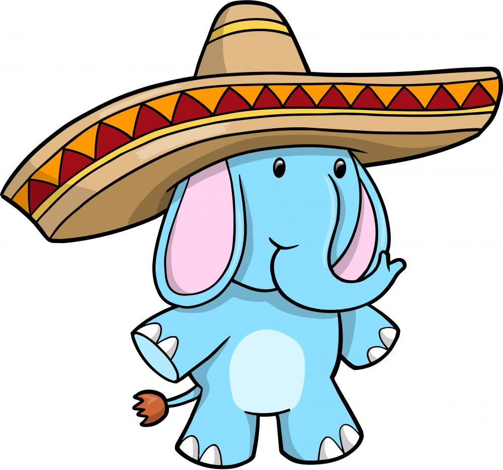 Sombrero blue elephant vector wall decal wallmonkeys com