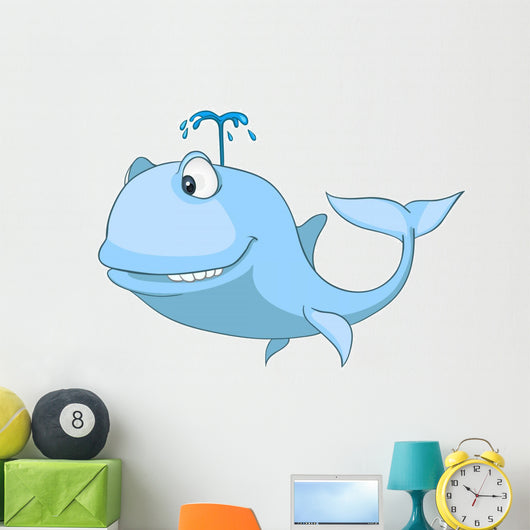 Cartoon Character Whale Wall Decal
