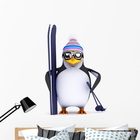 3D Penguin Famous Skier Wall Decal