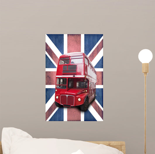 London Red Bus Bottom Union Jack Wall Mural
