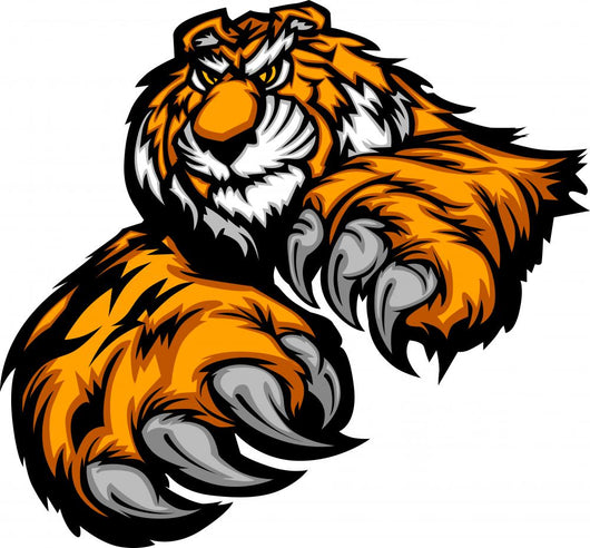 Tiger Mascot Body With Paws and Claws Wall Decal