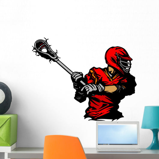 Lacrosse Player Cradling Ball Wall Decal