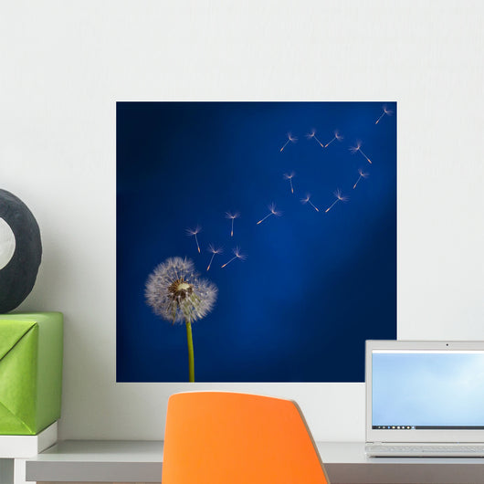 Dandelion and Flying Seeds Heart Shape Wall Mural