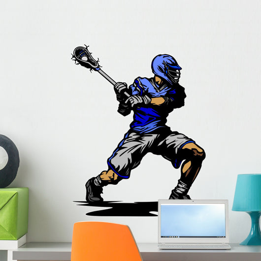 Lacrosse Player Cradling Ball Illustration Wall Decal