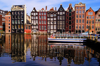 Traditional houses of Amsterdam with canal reflections Wall Mural