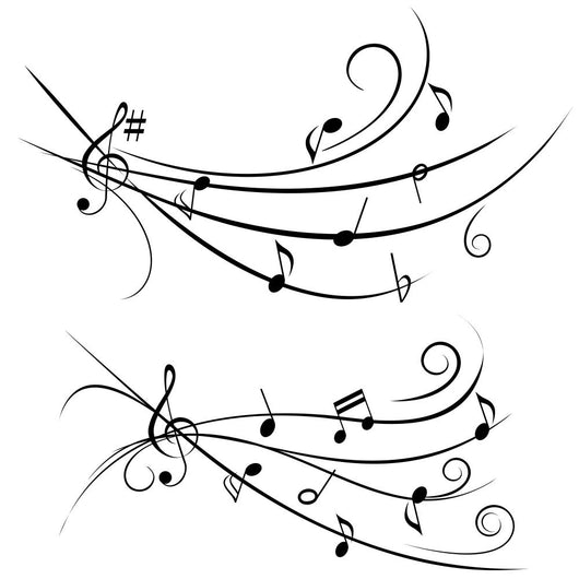 Music Notes on Ornamental Staff Wall Decal