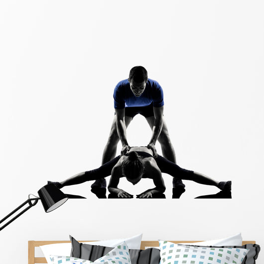 couple woman man exercising workout Wall Decal