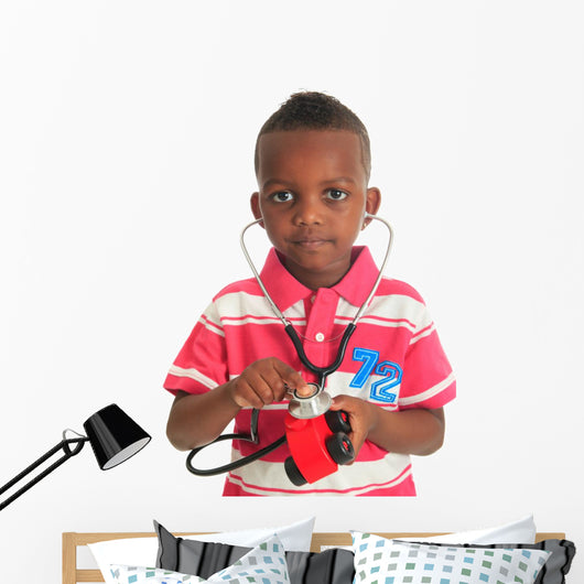 Black African American child with stethoscope and car Wall Decal