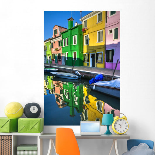 Colorful Burano Italy canal reflections Wall Mural