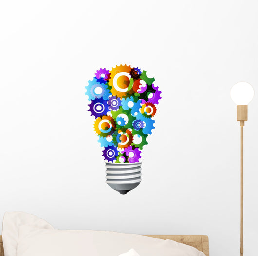 colorful gear turning light bulb Wall Decal