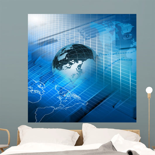 Global financial color charts and graphs Wall Mural