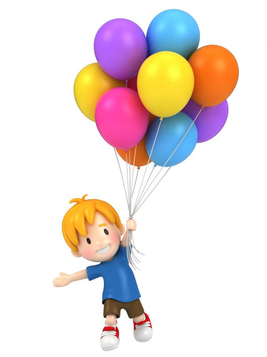 3d render of a floating kid with balloons Wall Decal