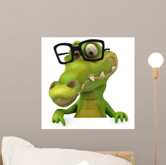 Crocodile and Glasses Wall Decal