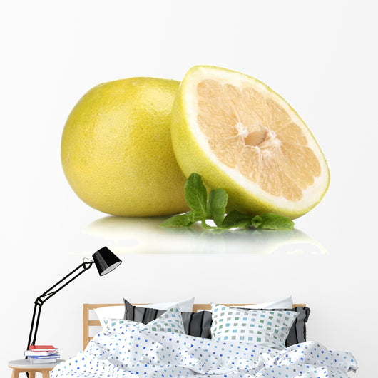 Pomelo or Chinese grapefruit isolated on white Wall Decal