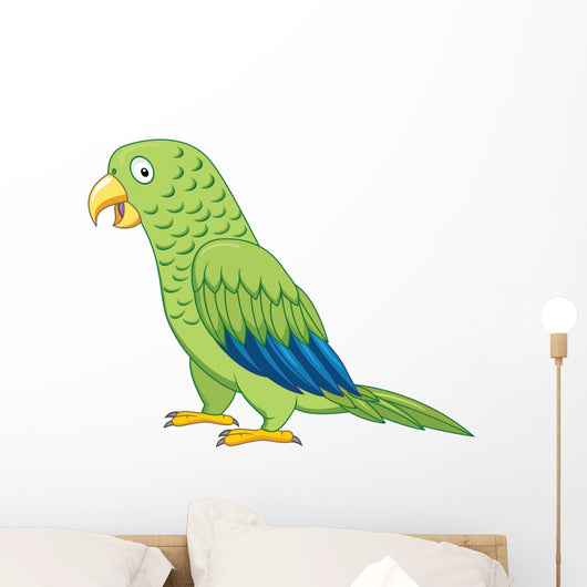 Green parrot cartoon Wall Decal
