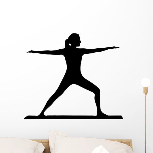 Silhouette of a Beautiful Women Practicing Yoga Wall Decal